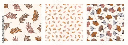 Foto Palm Ginkgo Biloba Leaves Seamless Pattern in a Trendy Minimal Style