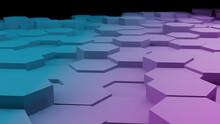 Blue And Pink Hexagon Floor In Perspective View(3D Rendering)