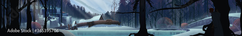 Evocative panoramic fairy tale illustration of frozen woodland encampment with t Fotobehang