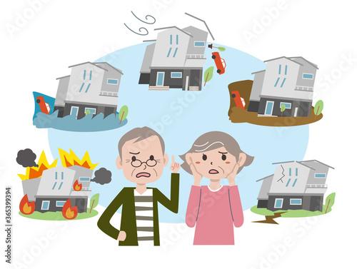 Fotografie, Obraz 住宅災害に不安になる老夫婦