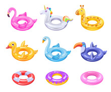 Children Inflatable Rings Set. Rubber Donuts, Pink Flamingo, Duck, Unicorn For Kids In Swimming Pool. Can Be Used For Pool Party, Summer Vacation, Beach Concepts