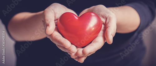 Woman holding red heart, health insurance, donation, happy charity volunteer con Wallpaper Mural