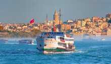 Sea Voyage With Old Ferry (steamboat) In The Bosporus - Dolmabahce Palace  Seen From The Bosphorus  - Galata Tower, Galata Bridge, Karakoy District And Golden Horn, Istanbul - Turkey