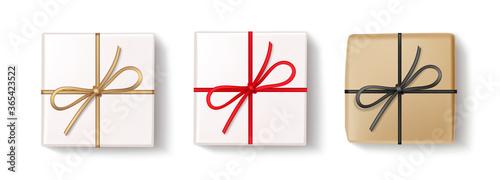 Valokuvatapetti Set of decorative gift boxes isolated on white