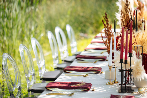 Photo Luxury festive served table banquet catering