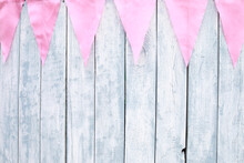Wood Wall With Pink Small Flag