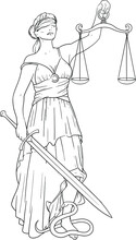 Simple Black Silhouette Of Themis Goddess Of Justice With A Blindfold And A Scale In One Hand And A Sword In The Other