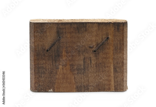 Sawed wooden plank piece, wood slab isolated on white background Canvas Print