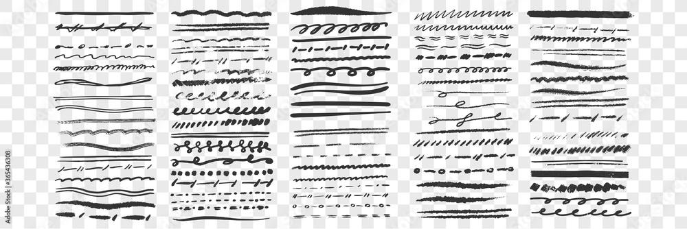 Fototapeta Hand drawn lines set collection