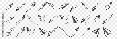 Obraz Hand drawnpaper planes doodle set - fototapety do salonu