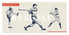 Vintage Baseball Players Set. Retro Baseball Poster