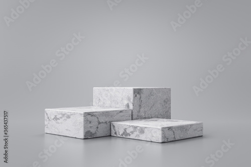 Valokuva Three step of white marble product display on gray background with modern backdrops studio