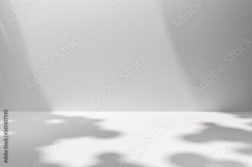 Photo White scene backdrops product display on simple background with sunny shadow in blank studio