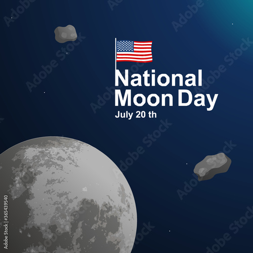 Tela National Moon day illustration vector, the first human landing day to the moon,