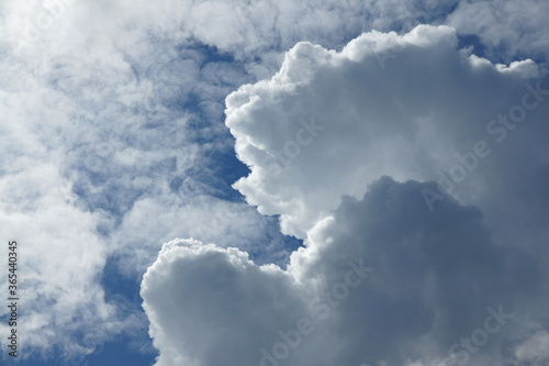 Blue summer sky with white cumulonimbus and altostratus clouds Canvas Print