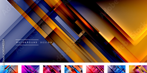 Dynamic lines on fluid color gradient. Collection of trendy geometric asbtract backgrounds for your text, logo or graphics
