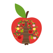 ..Silhouette Of A Red Apple With An Apple Tree Inside.Farmhouse Decor. Harvest Season. Vector Illustration..