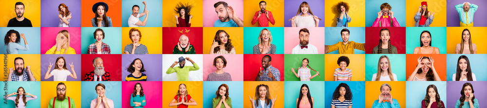 Fototapeta Photo collage of group of glad cheerful excited astonished funky scared surprised people person youngsters children having bright facial expressions isolated over multicolored background