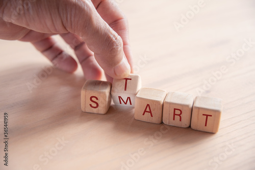 Fototapety, obrazy: hand holding dice with text for illustration of