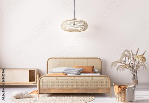 Foto wooden bedroom mockup in beige interior background with natural wooden furniture
