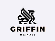 Winged Griffin Modern Logo. Heraldic Gryphon Emblem Design Editable For Your Business. Vector Illustration.