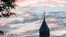Pink Evening With Steeple From...