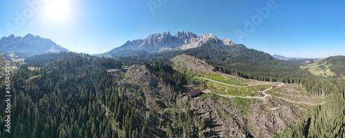 La devastazione da parte della tempesta Vaia nelle Dolomiti Fototapet