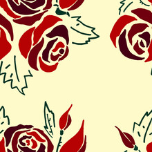 Rose Vector Silhouette Seamless Pattern