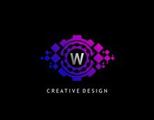 Digital Eye W Letter Data Logo...