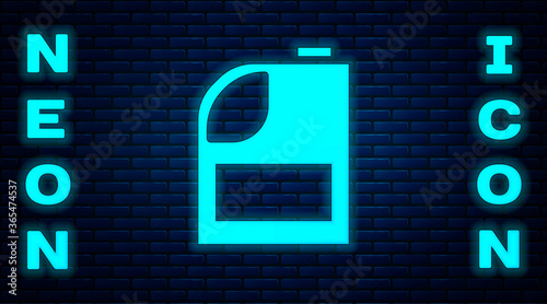 Fotomural Glowing neon Canister for motor machine oil icon isolated on brick wall background