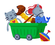 Wheeled Box Of Baby Toys, Dog, Stick Horse, Cat, Dolphin, Whirligig Cute Objects For Kids Development And Entertainment Cartoon Vector Illustration On White Background