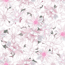 Floral Seamless Pattern With Pastel Pale Pink Flowers  Dahlias On White Background. Watercolor Style. For Textile, Wallpapers, Print, Greeting. Vector Illustration.