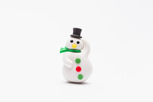 Christmas Snowman Blister Eraser With White Background