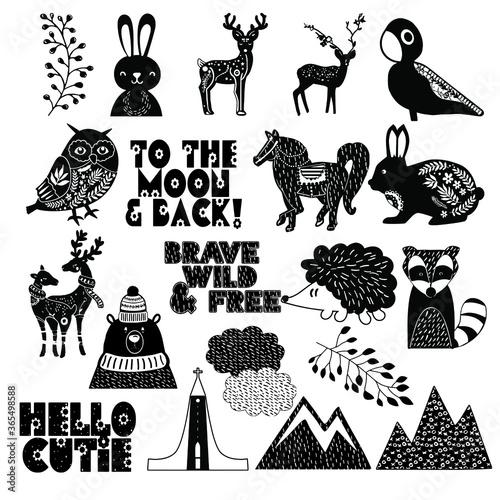 Canvastavla Nordic scandia folk art vector image
