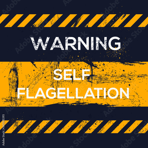 Warning sign (self flagellation), vector illustration. Wallpaper Mural