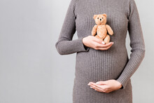 Cropped Image Of Teddy Bear In Hand Against Pregnant Woman's Belly In Gray Dress At Gray Background. Waiting For A Childbirth. Copy Space