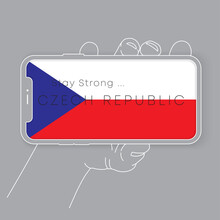 Hand Holding Smartphone With National Flag And Encouraging Message : Vector Illustration