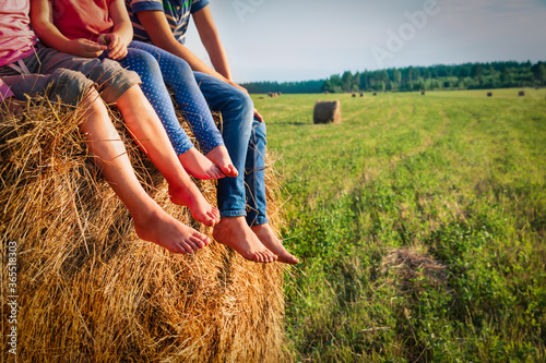 kids sitting on haystack in wheat field, boy and girls relax in nature Canvas Print