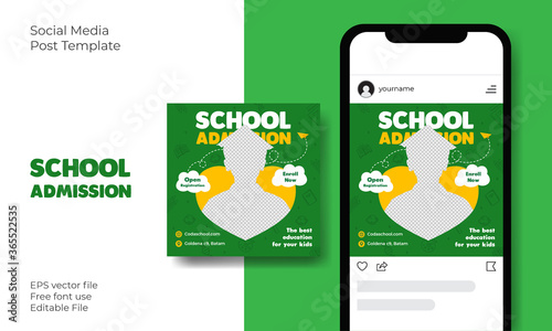 Cuadros en Lienzo Back to School Admission Promotion Social Media Instagram Post banner template