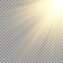 Vector transparent sunlight special lens flash light effect.front sun lens flash.
