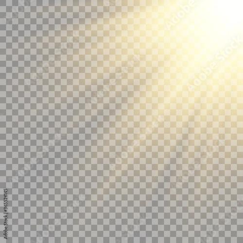 Fototapeta Vector transparent sunlight special lens flash light effect.front sun lens flash. obraz