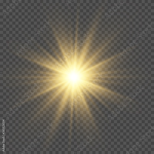 Obraz Yellow sun with rays and glow on transparent like background. - fototapety do salonu