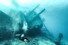 Scuba Diver And Wreck