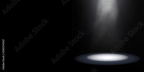 Fototapeta Dark Studio Room with Spotlight and Light Smoke or Fog. Minimalist Black Product Showcase Background with Copy Space. 3D Render. obraz na płótnie