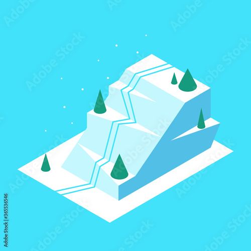 Photo Polygonal mountain in isometric style. Vector illustration
