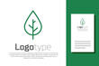 Green line Leaf icon isolated on white background. Fresh natural product symbol. Logo design template element. Vector.