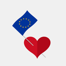 Heart Icon With European Union Flag