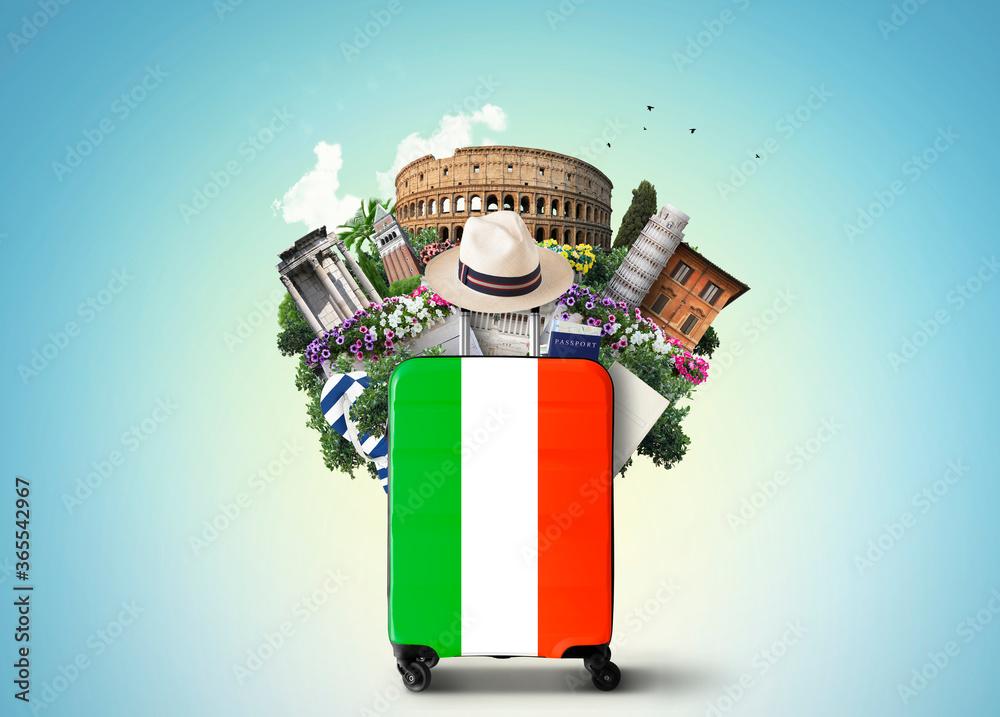 Fototapeta Italy, landmarks Italy and retro suitcase with hat