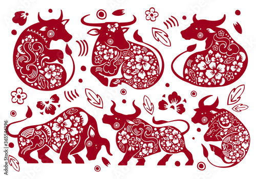 Set of Chinese zodiac characters Wallpaper Mural