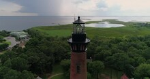 Historic Currituck Beach Lighthouse In Corolla, NC.  Aerial Drone Shot In The Outer Banks